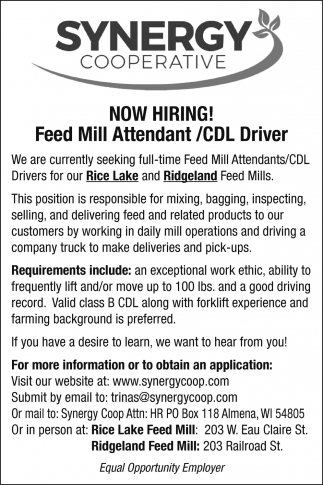 Feed Mill Attendant / CDL Drivers