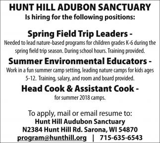 Spring Field Trip Leaders / Summer Environmental Educators