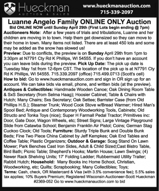 Luanne Angelo Family Online Only Auction