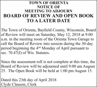 notice of meeting to adjourn board of review and open book to a