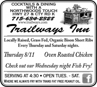 Check out our Wednesday night Fish Fry!