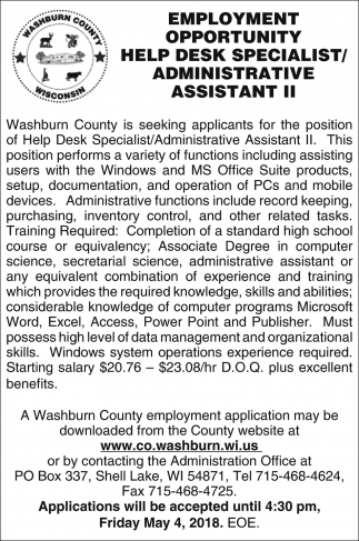 Help Desk Specialist / Administrative Assistant II
