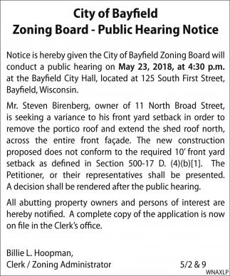 Zoning Board - Public Hearing Notice