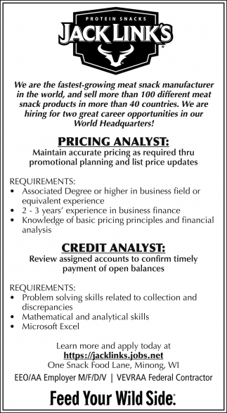 Pricing Analyst, Credit Analyst
