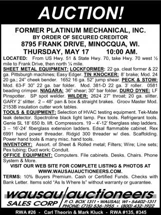 Former Platinum Mechanical, Inc