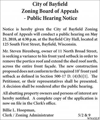 Zoning Board of Appeals - Public Hearing Notice
