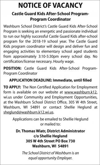 Castle Guard Kids After-School Program Coordinator