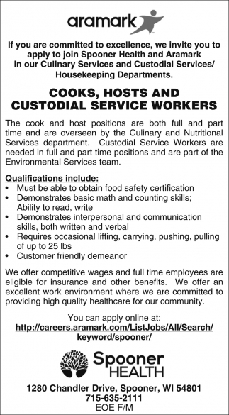 Cooks, Hosts, Custodial Service