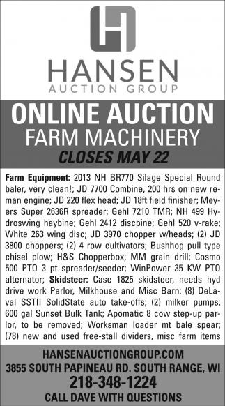 Online Auction Farm Machinery