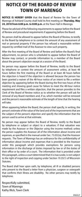 Notice of the board of review