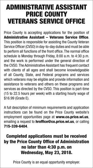 Administrative Assistant Price County Veterans Service Office