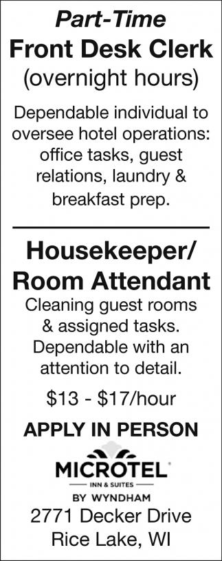 Front Desk Clerk / Housekeeper