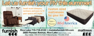 Let us furnish your RV this summer