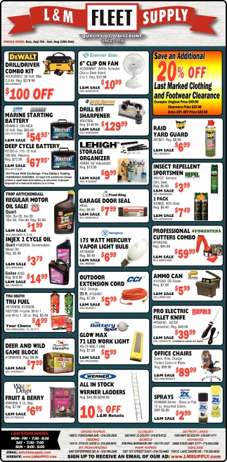 Save An Additional 20 Off L And M Fleet Supply Hayward Wi