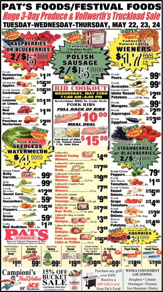 Huge 3 Day Produce & Vollwerth's Truckload Sale