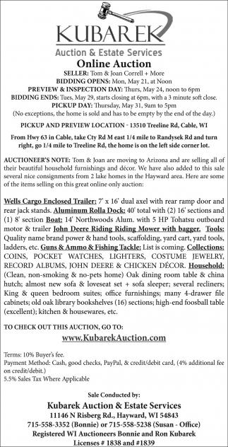 Online Auction, Kubarek Auction & Estate Services, Hayward, WI