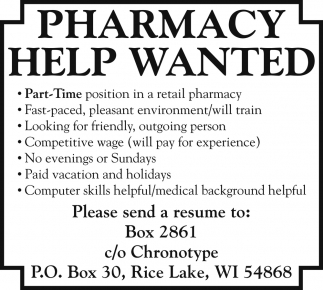 Pharmacy Help Wanted