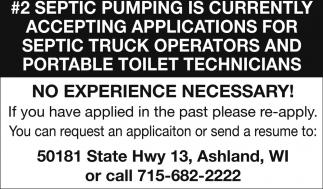Septic Truck Operators and Portable Toilet Technicians