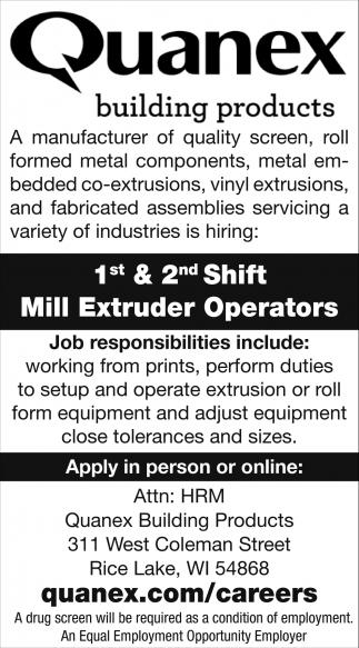 Mill Extruder Operators