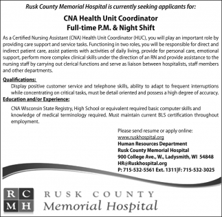 Cna Health Unit Coordinator Rusk County Memorial Hospital