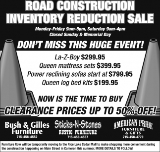 Road Construction Inventory Reduction Sale