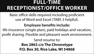 Receptionist / Office Worker