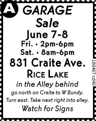 garage sale rice lake
