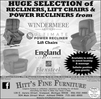 Recliners, Lift Chairs & Power Recliners