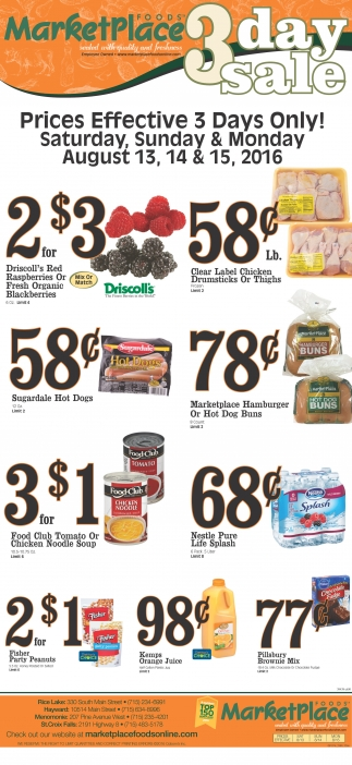3 Day Sale Marketplace Foods Rice Lake Wi