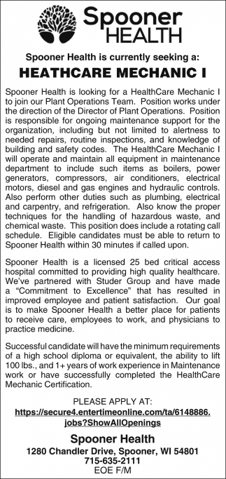 Healthcare Mechanic I