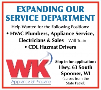 HVAC Plumbers, Appliance Service, Electricians, Sales, Drivers
