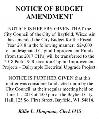 Notice of Budget Amendment