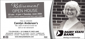 Retirement Open House Carolyn Anderson's