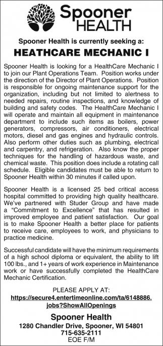 Healthcare Mechanic I