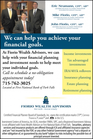 We can help you achieve your financial goals
