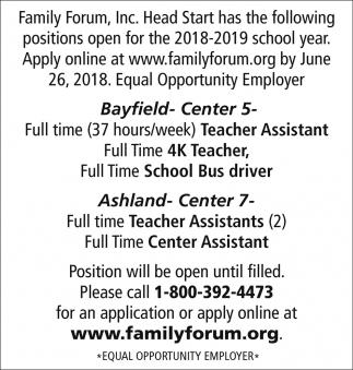 Teacher, School Bus Driver, Teacher Assistants