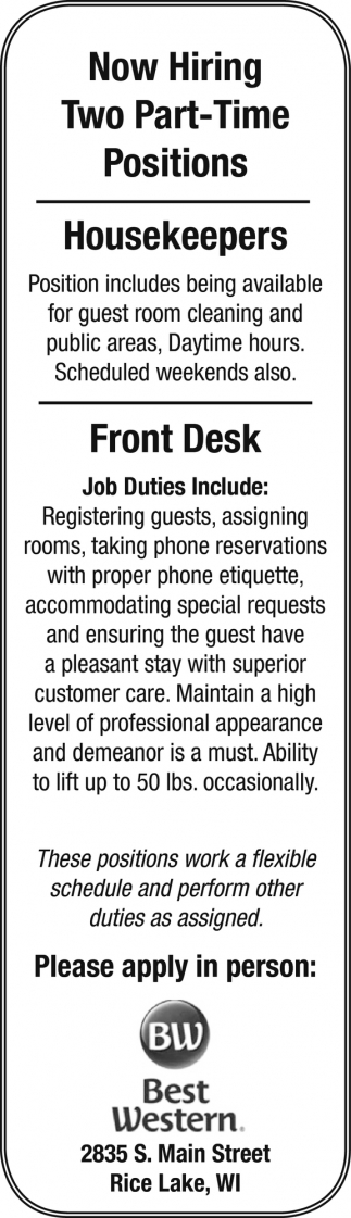 Housekeepers, Front Desk