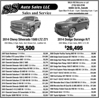 2014 Chevy Silverado, 2014 Dodge Durango, SS Auto Sales LLC, Conrath, WI