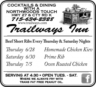 Beef Short Ribs Every Thursday and Saturday Nights