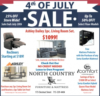 4th Of July Sale North Country Furniture And Mattress Phillips Wi