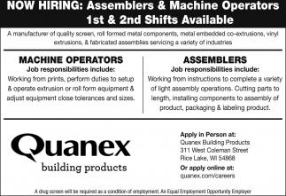 Machine Operators / Assemblers