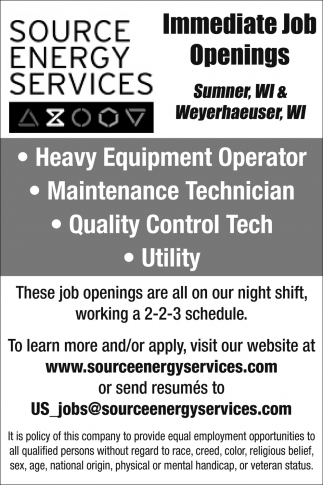 Job Openings, Source Energy Services - Sumner, Cameron, WI