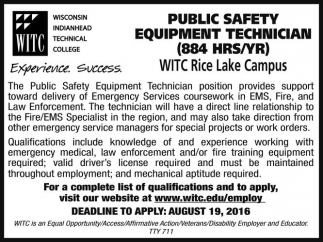 PUBLIC SAFETY EQUIPMENT TECHNICIAN 8884 HRS/YR)