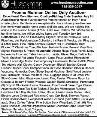Yvonne Morman Online Only Auction