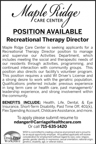 Recreational Therapy Director
