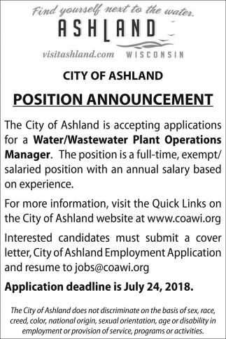 Water/Wastewater Plant Operations Manager, City Of Ashland ...
