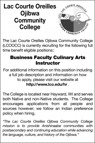 Business Faculty Culinary Arts Instructor