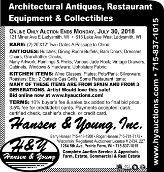 Architectural Antiques, Restaurant Equipment & Collectibles