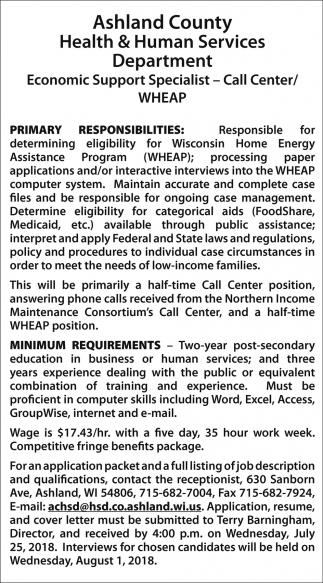 Economic Support Specialist - Call Center