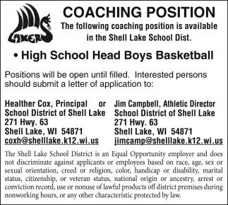 coaching positions school district of shell lake shell lake wi